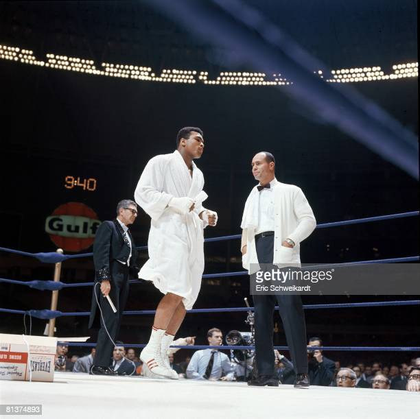 Boxing WBA Heavyweight Title Muhammad Ali with referee before fight vs Ernie Terrell at Astrodome Houston TX 2/6/1967