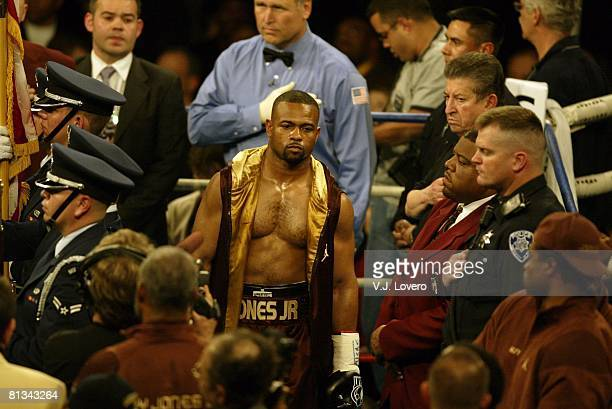 Boxing WBA Heavyweight Title Roy Jones Jr entering ring before fight vs John Ruiz at Thomas Mack Center Las Vegas NV 3/1/2003