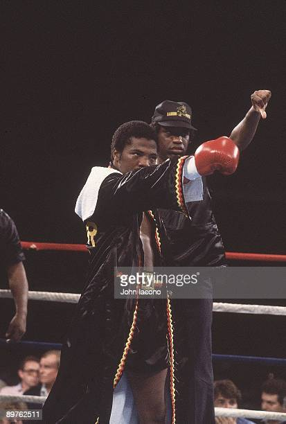 WBA Light Welterweight Title Aaron Pryor pointing and taunting Alexis Arguello before fight at Orange Bowl Stadium Miami FL CREDIT John Iacono