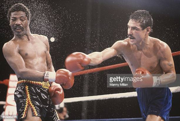 WBA Light Welterweight Title Alexis Arguello in action right hand punch to Aaron Pryor during fight at Orange Bowl Stadium Miami FL CREDIT Manny...
