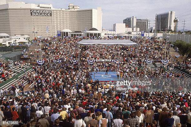 Boxing WBA Lightweight Title Aerial view of venue before Ray Boom Boom Mancini vs Deuk Koo Kim fight at Caesars Palace Kim died four days later from...