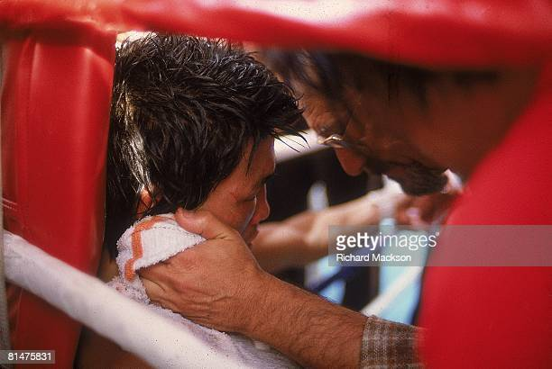 Boxing WBA Lightweight Title Closeup of Deuk Koo Kim with cornerman during fight vs Ray Boom Boom Mancini at Caesars Palace Kim died four days later...