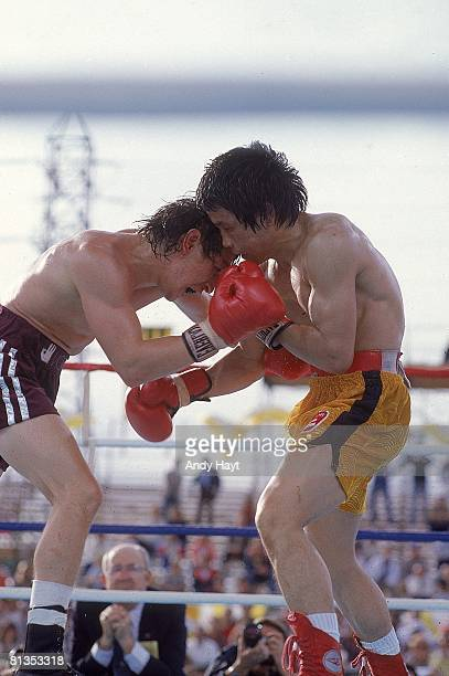 Boxing WBA Lightweight Title Deuk Koo Kim in action vs Ray Boom Boom Mancini at Caesars Palace Kim died four days later from brain complications Las...