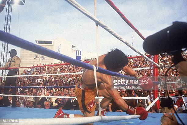 Boxing WBA Lightweight Title Deuk Koo Kim on ropes after knockout vs Ray Boom Boom Mancini at Caesars Palace Kim died four days later from brain...