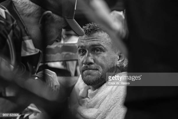 WBA Super World Lightweight Title Fight Closeup of Vasiliy Lomachenko during fight vs Jorge Linares at Madison Square Garden New York NY CREDIT Erick...
