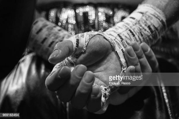 WBA Super World Lightweight Title Fight Closeup view of Jorge Linares taped up hands for fight vs Vasiliy Lomachenko at Madison Square Garden New...