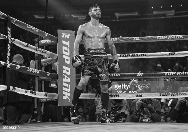 WBA Super World Lightweight Title Fight Jorge Linares coming out of his corner for start of fight vs Vasiliy Lomachenko at Madison Square Garden New...