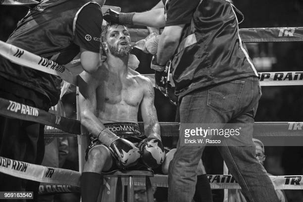 WBA Super World Lightweight Title Fight Jorge Linares in corner getting water between rounds of fight vs Vasiliy Lomachenko at Madison Square Garden...