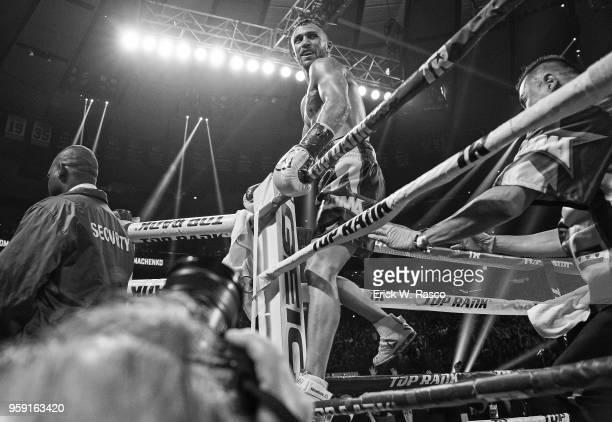 WBA Super World Lightweight Title Fight Vasiliy Lomachenko victorious after winning fight vs Jorge Linares at Madison Square Garden New York NY...