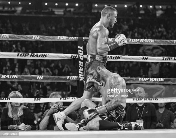 WBA Super World Lightweight Title Fight Vasiliy Lomachenko after knocking down Jorge Linares at Madison Square Garden New York NY CREDIT Erick W Rasco