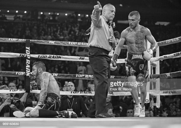 WBA Super World Lightweight Title Fight Vasiliy Lomachenko after knocking down Jorge Linares at Madison Square Garden New York NY CREDIT Erick W Rasco