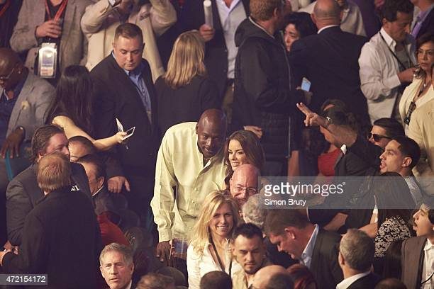WBA Super World / WBC / WBO Welterweight Title Charlotte Hornets owner Michael Jordan and wife Yvette Prieto in crowd before Floyd Mayweather vs...