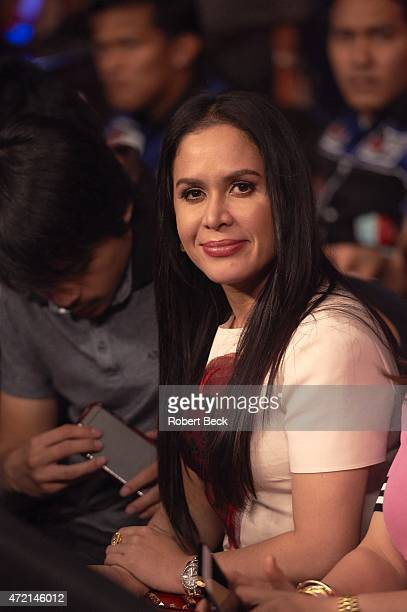 WBA Super World / WBC / WBO Welterweight Title Closeup of Jinkee Pacquiao wife of Manny Pacquiao seated in crowd before fight vs Floyd Mayweather at...