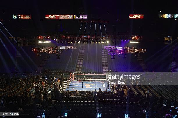 WBA Super World / WBC / WBO Welterweight Title Overall view of empty ring and arena before Floyd Mayweather vs Manny Pacquiao fight at MGM Grand...