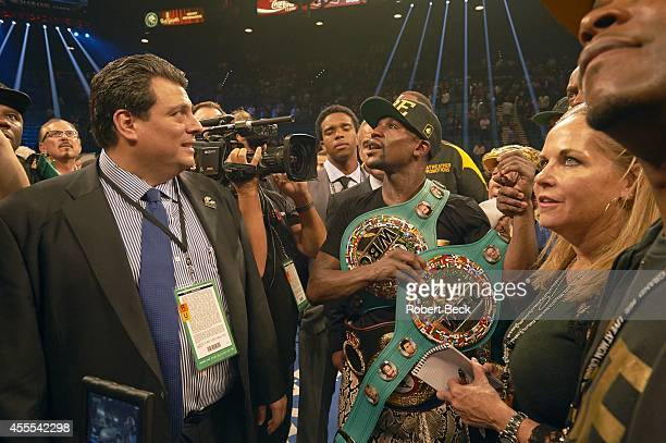 WBA Super World / WBC Welterweight Title Floyd Mayweather Jr victorious with belts after winning fight by unanimous decision vs Marcos Maidana at MGM...