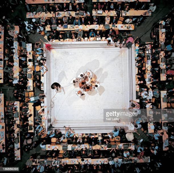 Boxing WBA World Heavyweight Title Aerial view of Muhammad Ali and Ernie Terrell with referee Harry Kessler in center of ring before fight at...