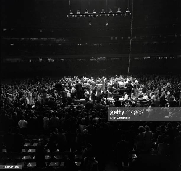 WBA World Heavyweight Title Aerial view of Muhammad Ali walking off the ring with crowd and media after fight vs Cleveland Williams at Astrodome...
