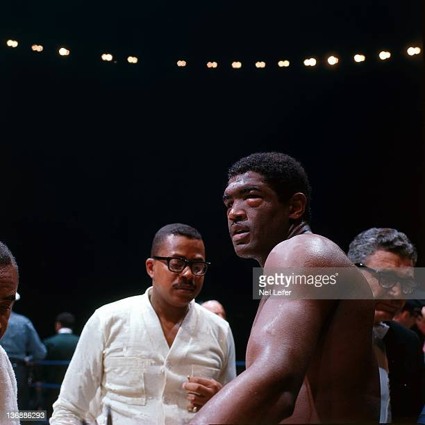 Boxing WBA World Heavyweight Title Ernie Terrell after losing fight vs Muhammad Ali at Astrodome Terrell eyelids are swollen after sustaining eye...