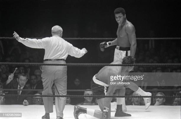 WBA World Heavyweight Title Muhammad Ali in action after knockdown vs Cleveland Williams getting up from canvas at Astrodome Houston TX CREDIT Don...