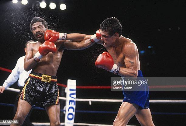 WBA World Light Welterweight Title Alexis Arguello in action throwing punch vs Aaron Pryor during match at Orange Bowl Stadium Miami FL CREDIT Manny...