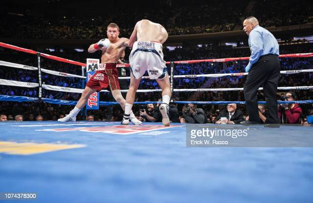 WBA World Super Middleweight Title Canelo Alvarez in action vs Rocky Fielding during super middleweight title fight at Madison Square Garden New York...