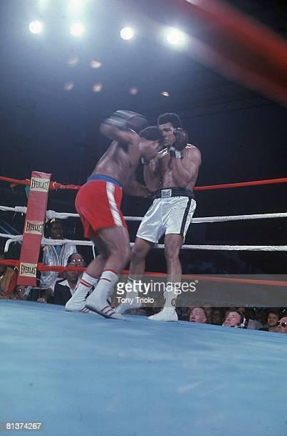 Boxing: WBA/WBC Heavyweight Title, Muhammad Ali in action, taking punch vs George Foreman at 20th of May Stadium, Kinshasa, ZAR