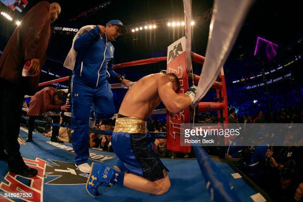WBA/WBC/IBF/IBO Middleweight Title Canelo Alvarez down on knees praying before fight vs Gennady Golovkin at TMobile Arena Las Vegas NV CREDIT Robert...