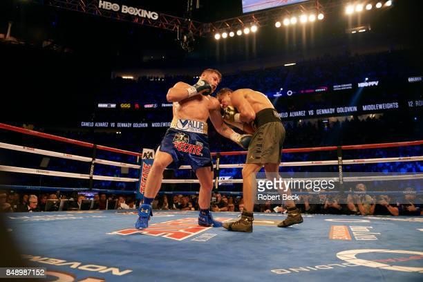 WBA/WBC/IBF/IBO Middleweight Title Canelo Alvarez in action vs Gennady Golovkin during championship bout at TMobile Arena Las Vegas NV CREDIT Robert...