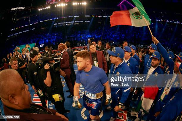 WBA/WBC/IBF/IBO Middleweight Title Canelo Alvarez in ring before fight vs Gennady Golovkin at TMobile Arena Las Vegas NV CREDIT Robert Beck