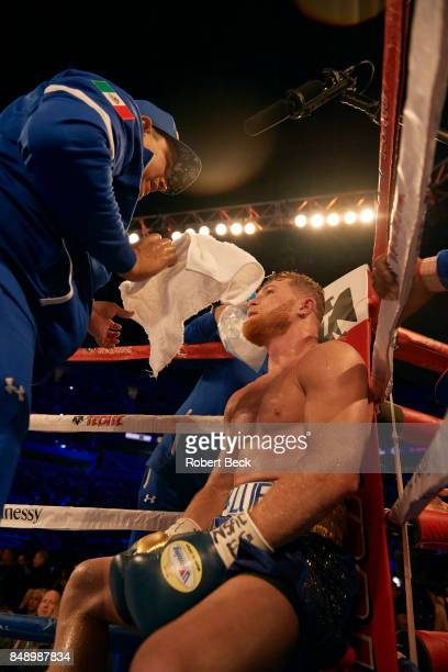 WBA/WBC/IBF/IBO Middleweight Title Canelo Alvarez sitting at his corner vs Gennady Golovkin during championship bout at TMobile Arena Las Vegas NV...