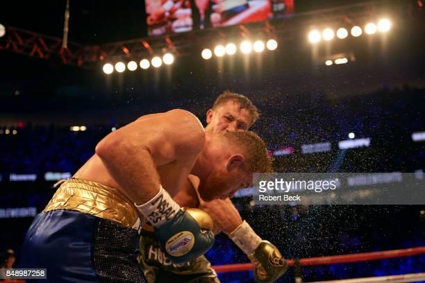 WBA/WBC/IBF/IBO Middleweight Title Gennady Golovkin in action vs Canelo Alvarez during championship bout at TMobile Arena Las Vegas NV CREDIT Robert...