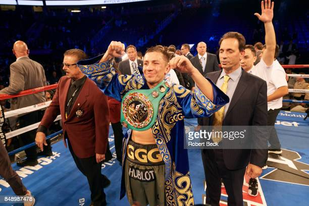 WBA/WBC/IBF/IBO Middleweight Title Gennady Golovkin wearing WBC belt after fight vs Canelo Alvarez at TMobile Arena Las Vegas NV CREDIT Robert Beck