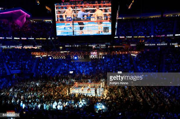 WBA/WBC/IBF/IBO Middleweight Title Overall view of ring and fans in arena during Gennady Golovkin vs Canelo Alvarez fight at TMobile Arena View of...
