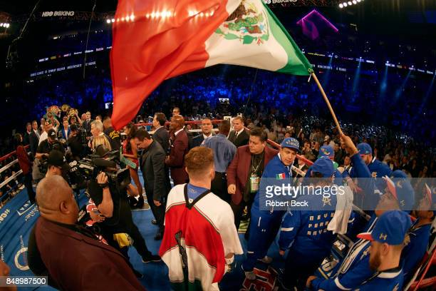 WBA/WBC/IBF/IBO Middleweight Title Rear view of Canelo Alvarez in ring with Mexican flag above him before fight vs Gennady Golovkin at TMobile Arena...