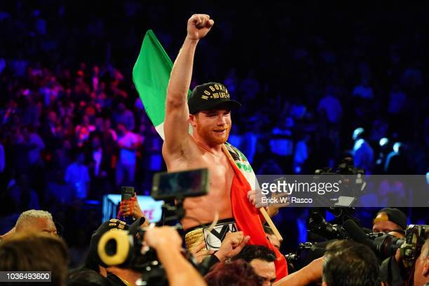 WBA/WBC/IBO World Middleweight Title Canelo Alvarez victorious with Mexican flag after fight vs Gennady Golovkin at TMobile Arena Las Vegas NV CREDIT...