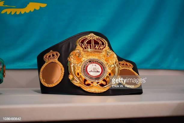 WBA/WBC/IBO World Middleweight Title Closeup of Super Champion World Boxing Association WBA title belt before Canelo Alvarez vs Gennady Golovkin...