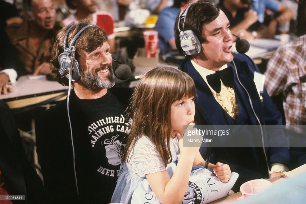 Larry holmes and muhammad ali 1980 wbc heavyweight title pictures celebrity singer and actor kris kristofferson and his daughter casey kristofferson look on as announcer bob altavistaventures Gallery