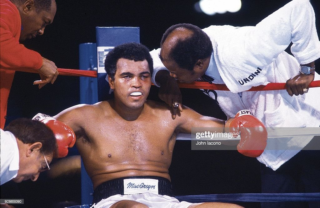 Closeup of Muhammad Ali in corner during fight vs Larry Holmes at Ceasars Palace. Cover. Las Vegas, NV 10/2/1980