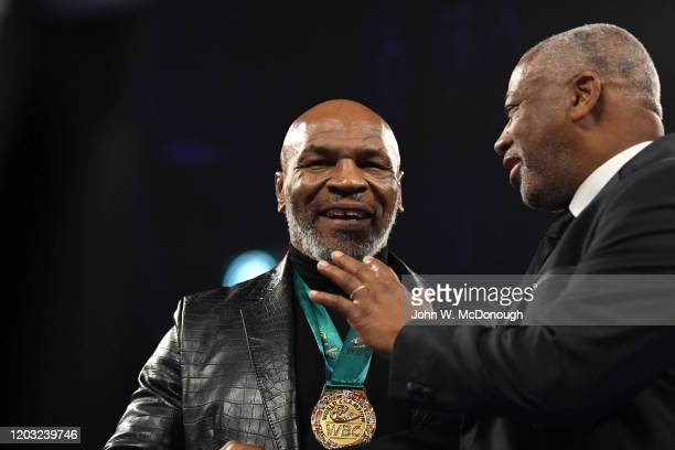 WBC Heavyweight Title Fight Former heavyweight champion Mike Tyson wearing WBC medal in ring before Deontay Wilder vs Tyson Fury fight at MGM Grand...