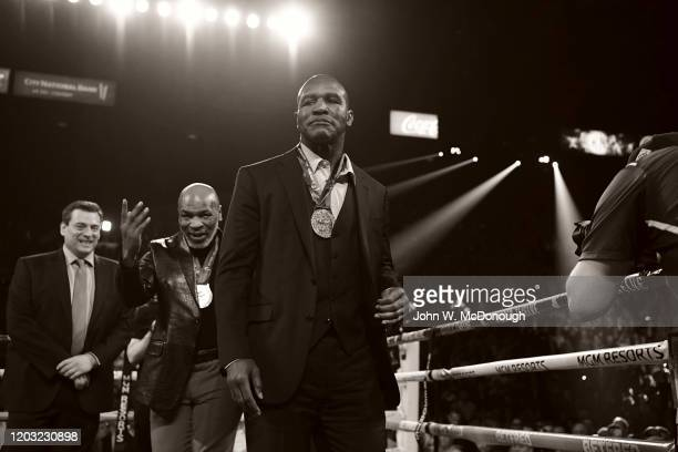 WBC Heavyweight Title Fight Former heavyweight champions Evander Holyfield and Mike Tyson wearing WBC medals in ring before Deontay Wilder vs Tyson...