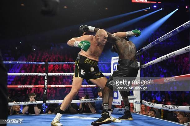 WBC Heavyweight Title Fight Tyson Fury in action vs Deontay Wilder at MGM Grand Garden Las Vegas NV CREDIT John W McDonough