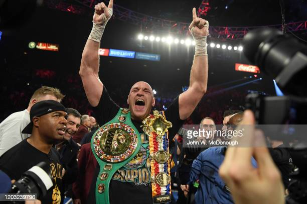 Heavyweight Title Fight: Tyson Fury victorious with WBC belt on shoulder after winning vs Deontay Wilder at MGM Grand Garden. Las Vegas, NV 2/22/2020...