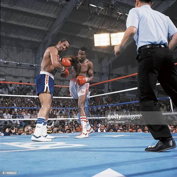 Boxing WBC Heavyweight Title Larry Holmes in action throwing punch vs Ken Norton at Caesars Palace Las Vegas NV 6/9/1978