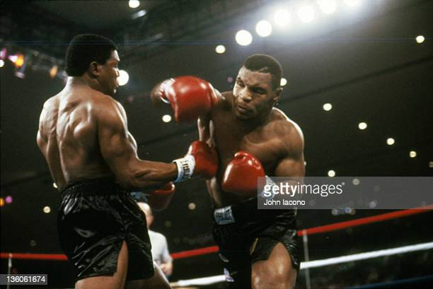 WBC Heavyweight Title Mike Tyson in action punch vs Trevor Berbick at the Hilton Hotel Tyson wins by TKO in second round Cover Las Vegas NV CREDIT...