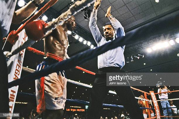 WBC/ IBF Light Welterweight Title Referee Richard Steele ending fight between Meldrick Taylor and Julio Cesar Chavez with two seconds left in 12th...