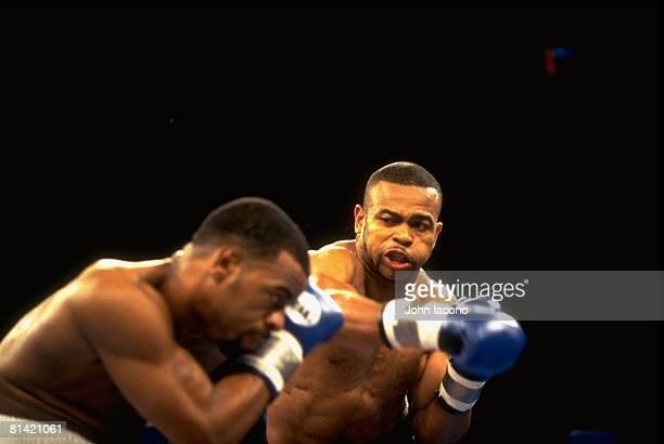 Boxing WBC Light Heavyweight Title Closeup of Roy Jones Jr in action throwing punch vs Montell Griffin at Taj Majal Hotel Casino Atlantic City NJ...