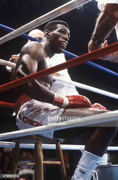 WBC Light Heavyweight Title Matthew Saad Muhammad sitting in his corner during fight vs John Conteh at Resorts International Hotel Casino Atlantic...