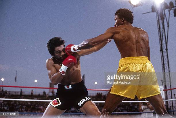 WBC Light Middleweight Title Thomas Hearns in action throwing punch vs Roberto Duran during fight at Caesars Palace Hearns TKOs Duran Las Vegas NV...