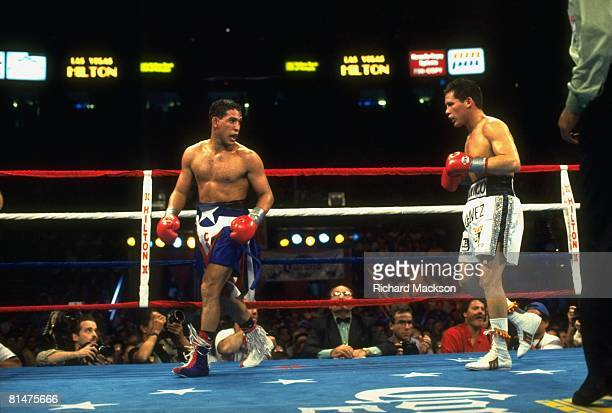 Boxing WBC Light Welterweight Title Hector Macho Camacho walking away during fight vs Julio Cesar Chavez at Thomas Mack Center Las Vegas NV 9/12/1992