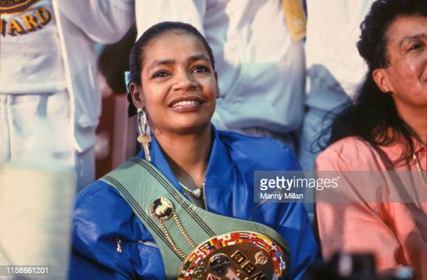 WBC Middleweight Title Closeup portrait of Sugar Ray Leonard's wife Juanita Wilkinson wearing his championship belt during a press conference after...